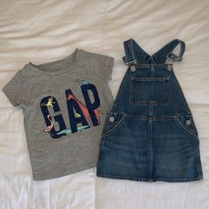 NWOT Denim Overall Dress And Gap T Shirt